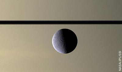 Saturnmond Rhea Richtung Ringebene und Saturn