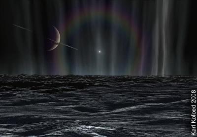 Sonnenaufgang auf Enceladus mit Sonnenhalo und Wasserfontänen