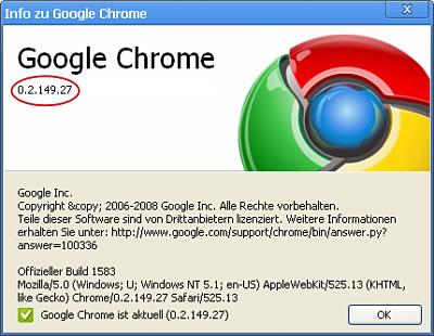 Aktueller Versionsstand von Google Chrome