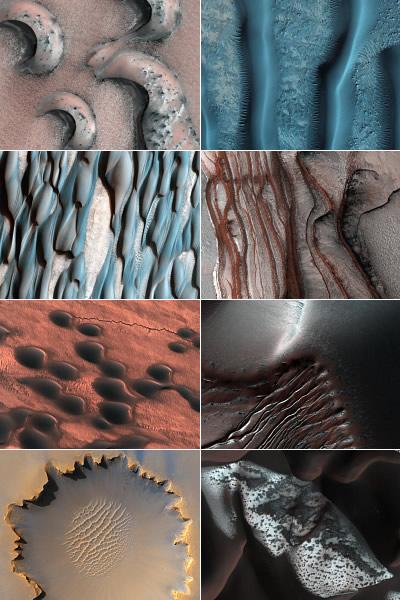 Dünen und andere Oberflächenstrukturen auf dem Mars