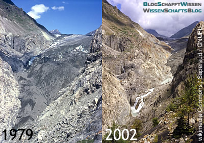 Vergleich: Aletsch-Gletscher 1979 und 2002