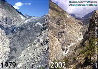 Vergleich: Aletsch-Gletscher 1979 und 2002